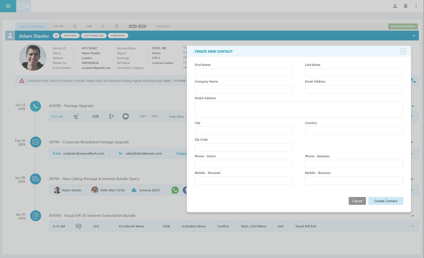 Customer Profile Finesse Gadget Cisco Call Center UCCX
